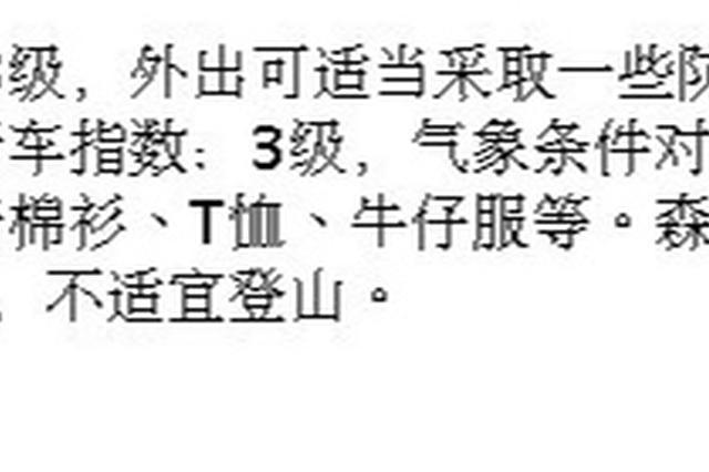 宁波今日天气预报 阴天或小雨外出需适当采取防护