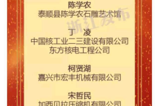 优秀 镇海陈辉荣膺浙江最美工匠