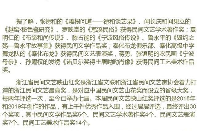 宁波9件作品获省民间文艺映山红奖 获奖数居全省第一
