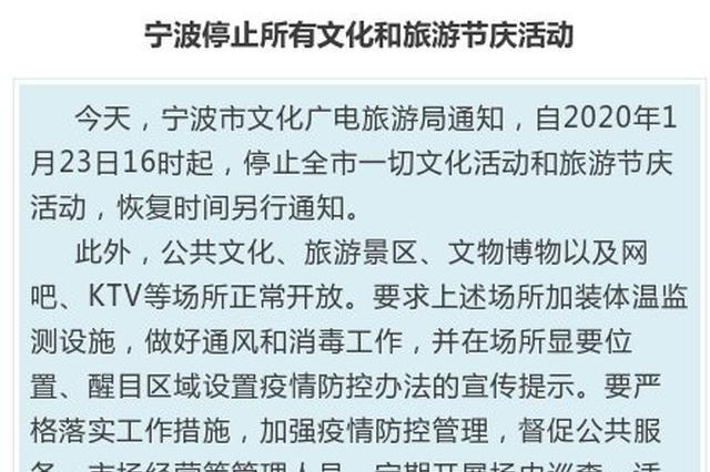 宁波停止所有节庆活动 市体育局直属场馆暂停开放