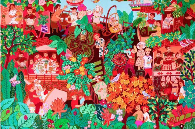 象山画家杨杏芬作品入选全国展 传达象山民宿文化
