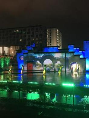 周末到宁波文化广场纳凉