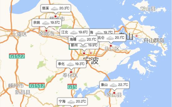 宁波今天多云到阴有时有阵雨 最高气温为25~27度