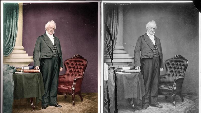 (George B McClellan)在帐篷内会面;?-美国老照片被修复上色还图片