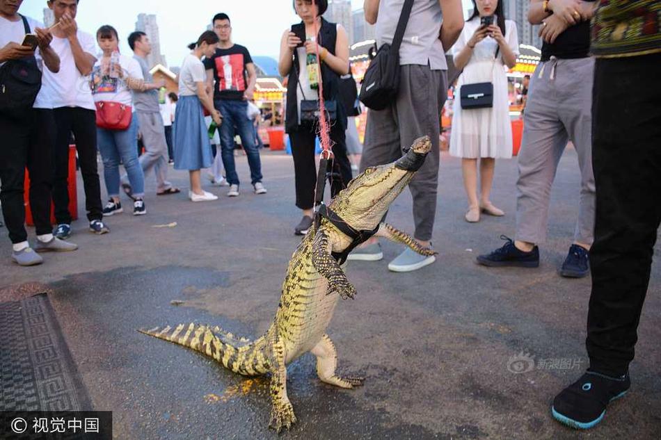 沈阳摊主街头遛鳄鱼 现场做鳄鱼串