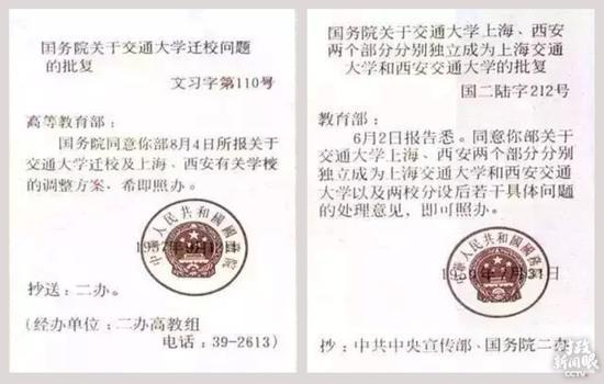 △这是1957年国务院关于交大分设两地及1959年各自自力建校的文件。
