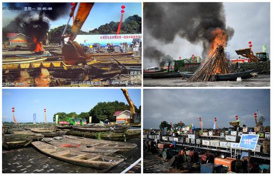 """湖南打击非法捕捞:销毁""""三无""""船239艘、电捕工具上千套图片"""