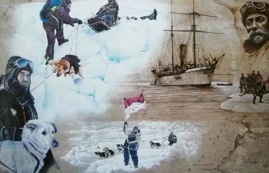 △阿爾貝征服北極宣傳畫。