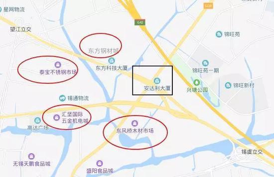 (黑色方框是本次桥梁侧翻的位置,周围至少有4个专业批发市场)