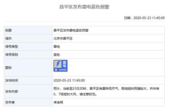 刚刚,北京多区发布雷电蓝色预警:顺义或有冰雹图片
