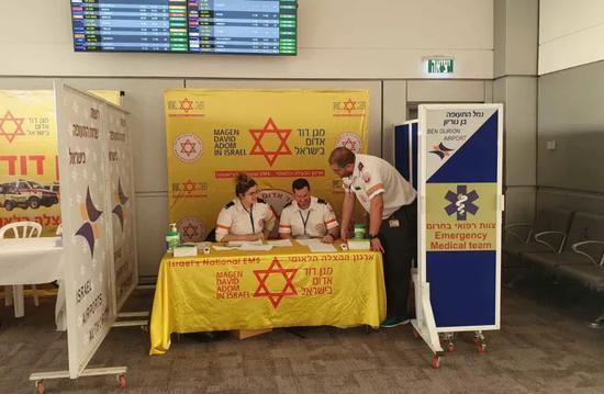 2月份设立在以色列本古里安国际机场的MDA健康检查站 图片来源|Magen David Adom组织