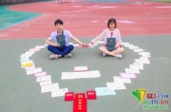 图为两人晒证书拍写真。中国青年网通讯员 卢赟 摄