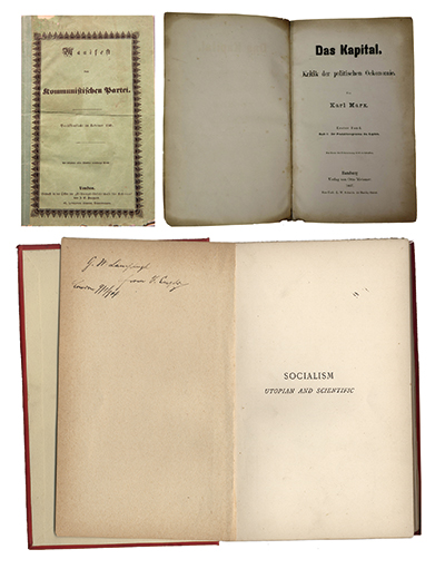 左上圖爲1848年《共產黨宣言》德文第一版。右上圖爲1867年《資本論》德文第1卷第一版。下圖爲恩格斯的題字贈書《社會主義從空想到科學的發展》,1892年英文版。 中央黨史和文獻研究院供圖