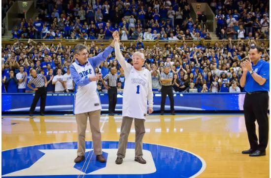 ▲杜克大学教授罗伯特·莱夫科维茨教授(左,2012年诺奖化学奖得主)和保罗·莫德里奇(右,2015年诺奖化学奖得主),获赠学校定制篮球服 图据杜克大学