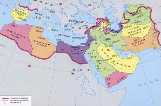 ▲阿拉伯帝国传播伊斯兰教