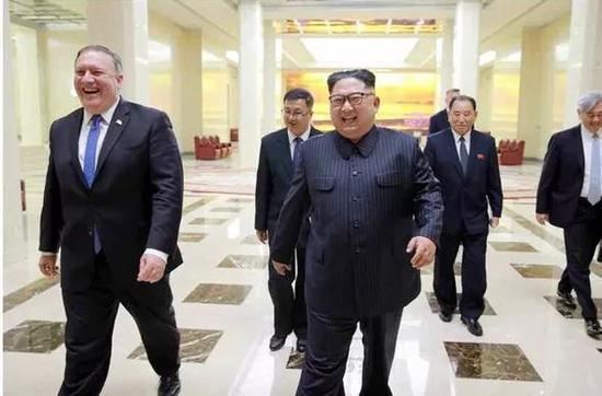 ▲資料圖片:今年5月,朝鮮最高領導人金正恩與美國國務卿蓬佩奧舉行會談。(韓聯社)