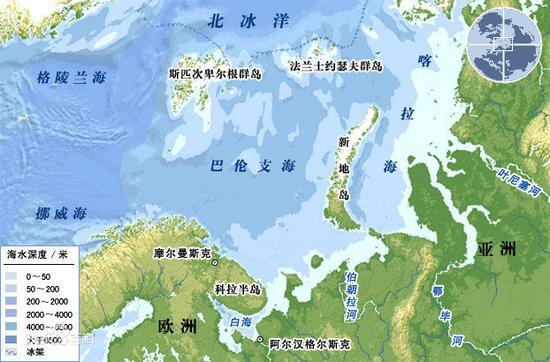 巴伦支海地理位置图