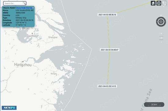 """""""南海计谋态势感知""""设计平台4月3日宣布的美军遣散舰飞行信息图"""