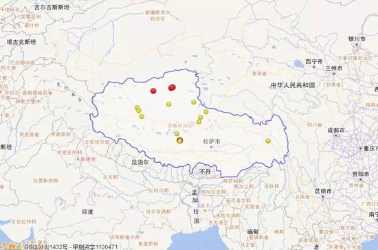 2018年1月1日到3月31日西藏三级地震活动分布图(四级以上红色标注)