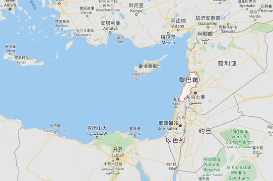 ▲黎巴嫩位于地中海东岸,叙利亚和以色列中间