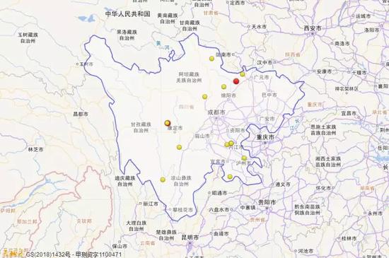 2018年1月1日到3月31日四川三级地震活动分布图(四级以上红色标注)