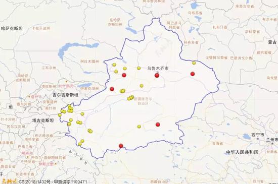 2018年1月1日到3月31日新疆三级地震活动分布图(四级以上红色标注)