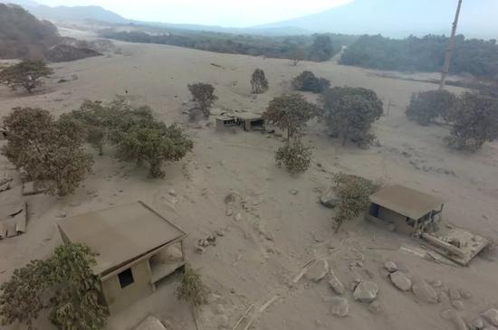 6月4日,在危地马拉奇马尔特南戈省阿卡特南戈,富埃戈火山喷发后周边的房屋和树木被火山灰覆盖。新华社发