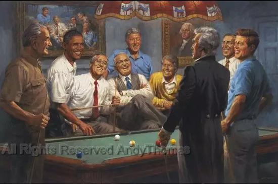 ▲托马斯此前画作:民主党的美国前总统们聚在一起打桌球 图据安迪·托马斯艺术品官方网站