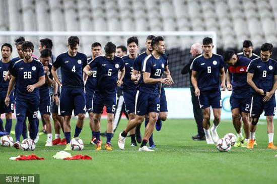 ▲材料图片:2019年亚洲杯小组赛时期,菲律宾队锻炼备战。