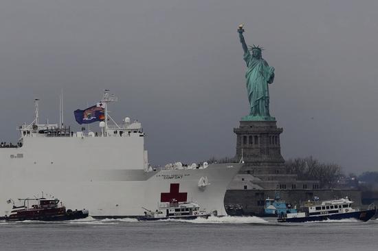 美国海军医疗船抵达纽约。/NYPost
