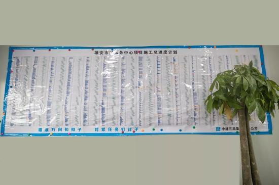 记者采访时,雄安市民服务中心完工在即,施工进度计划表上满是马克笔标记的痕迹