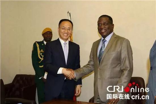 中国政府特使、外交部部长助理陈晓东与姆南加古瓦总统握手