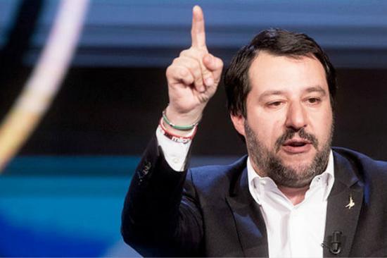 意大利北方联盟党领袖萨尔维尼(图片来源:英国《每日邮报》)