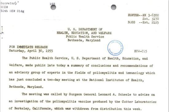 ▲1955年美国卫生部门对媒体的通知