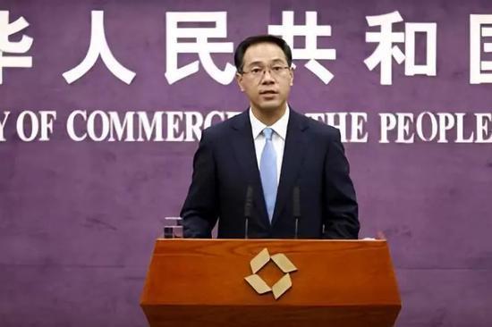 ▲中國商務部新聞發言人高峯