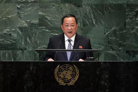 ▲資料圖片:9月29日,在位於紐約的聯合國總部,朝鮮外務相李勇浩在聯大一般性辯論上發言。(新華社)
