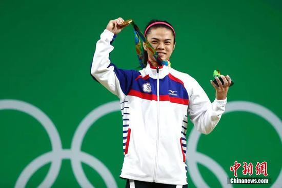 2016里約奧運舉重女子53公斤級決賽,中華臺北選手許淑淨獲得金牌中新網記者 富田 攝