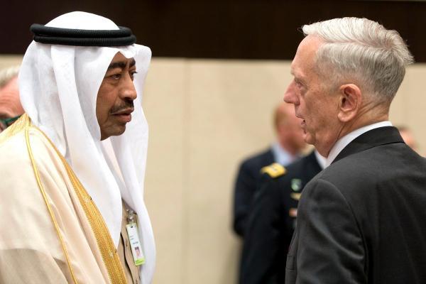 美国防部长马蒂斯与沙特副国防部长默罕默德・阿耶什谈话(资料图,图源:防务资讯网站)