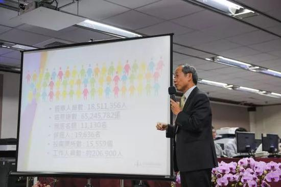 """▲资料图片:2014年11月28日,在台湾""""九合一""""选举的选情中心举行的作业总预演及记者会上,工作人员在介绍选举准备情况。(新华社)"""