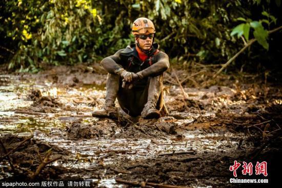 巴西矿坝溃坝事故现场,救援人员在泥浆里寻找幸存者和遇难者。图片来源:Sipaphoto版权作品 禁止转载