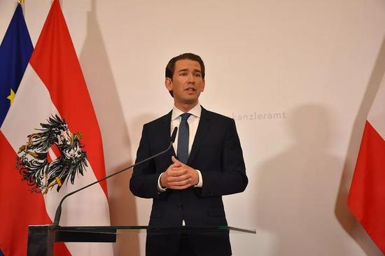 奧地利總理庫爾茨在新聞發佈會現場 /視覺中國