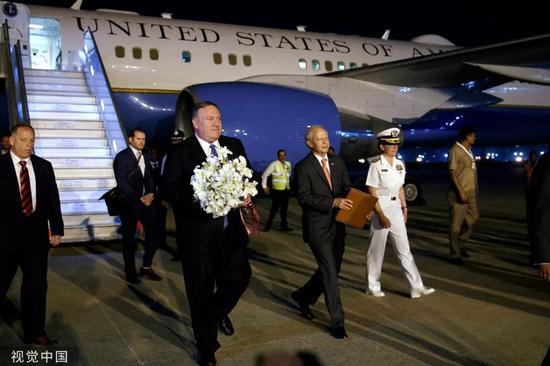 ▲6月25日,美国国务卿蓬佩奥抵达印度访问。