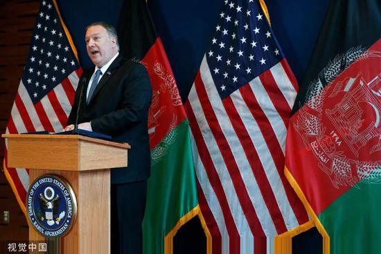 ▲资料图片:当地时间2019年6月25日,美国国务卿蓬佩奥访问阿富汗并举行新闻发布会。