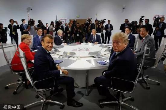 ▲8月25日,法国比亚里茨,G7国家领导人出席集体会谈。
