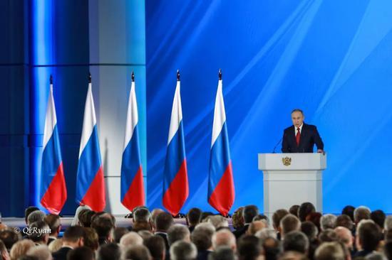 俄罗斯总统普京发表国情咨文。摄影:任奇