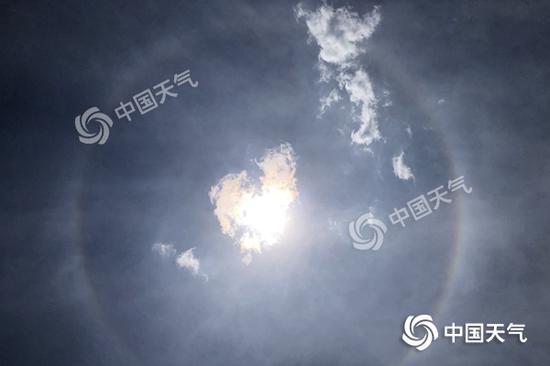 昨天中午,北京昌平地区天空出现日晕。(图/王晓)