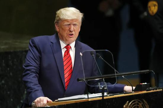 ▲资料图片:2019年9月24日,在位于纽约的联合国总部,美国总统特朗普在第74届联合国大会一般性辩论上发言。(新华社记者 李木子 摄)