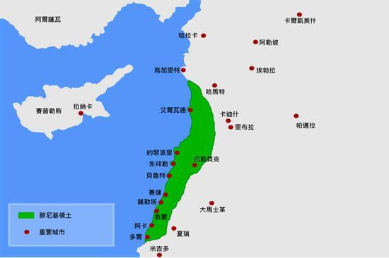 ▲腓尼基人的分布地区