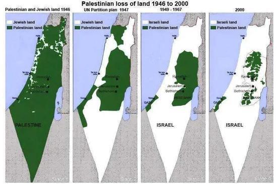 """1946年至2000年,巴勒斯坦(绿色)在以色列(白色)""""蚕食""""下,土地越来越少(图源:网络)"""