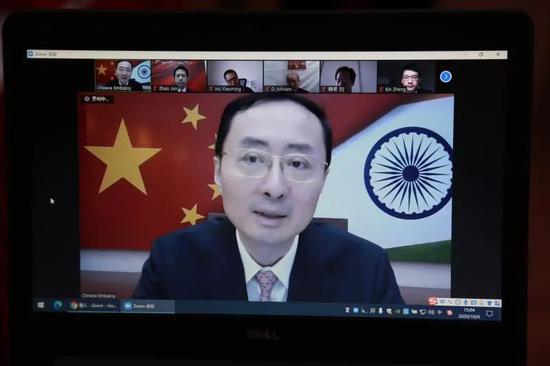 孙卫东大使与旅印中国同胞代表举行国庆中秋视频座谈图片